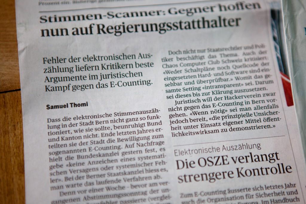 """Der Bund: """"Stimmen-Scanner: Gegner hoffen nun auf Regierungsstatthalter"""""""