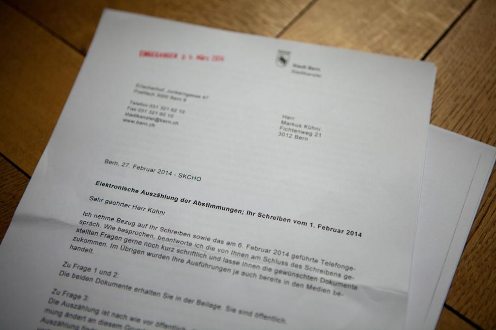Brief der Stadtkanzlei vom 27. Februar 2014